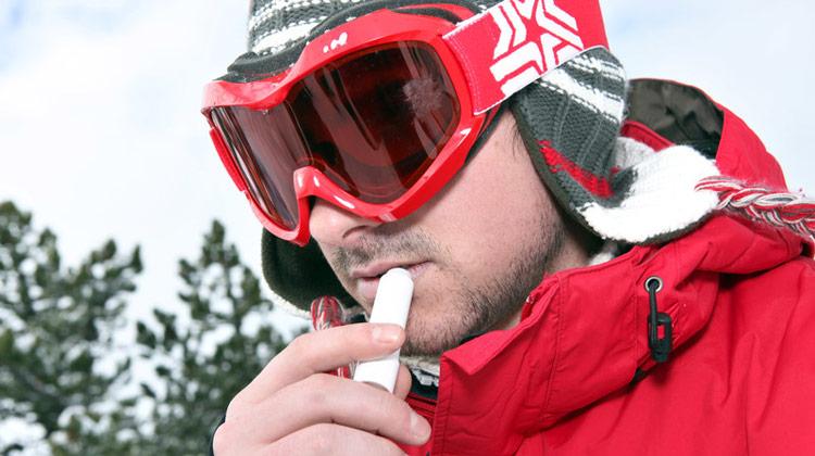 Applying Lip Balm in Cold